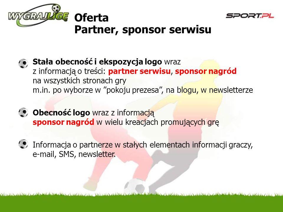 Oferta Partner, sponsor serwisu Stała obecność i ekspozycja logo wraz z informacją o treści: partner serwisu, sponsor nagród na wszystkich stronach gry m.in.