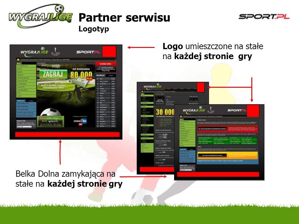 Logo umieszczone na stałe na każdej stronie gry Belka Dolna zamykająca na stałe na każdej stronie gry Partner serwisu Logotyp