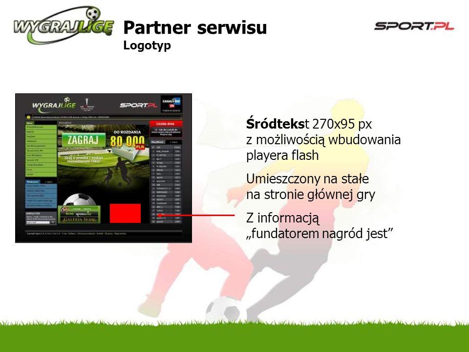 Śródtekst 270x95 px z możliwością wbudowania playera flash Umieszczony na stałe na stronie głównej gry Z informacją fundatorem nagród jest Partner serwisu Logotyp