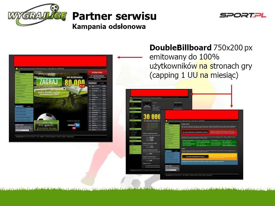 DoubleBillboard 750x200 px emitowany do 100% użytkowników na stronach gry (capping 1 UU na miesiąc) Partner serwisu Kampania odsłonowa