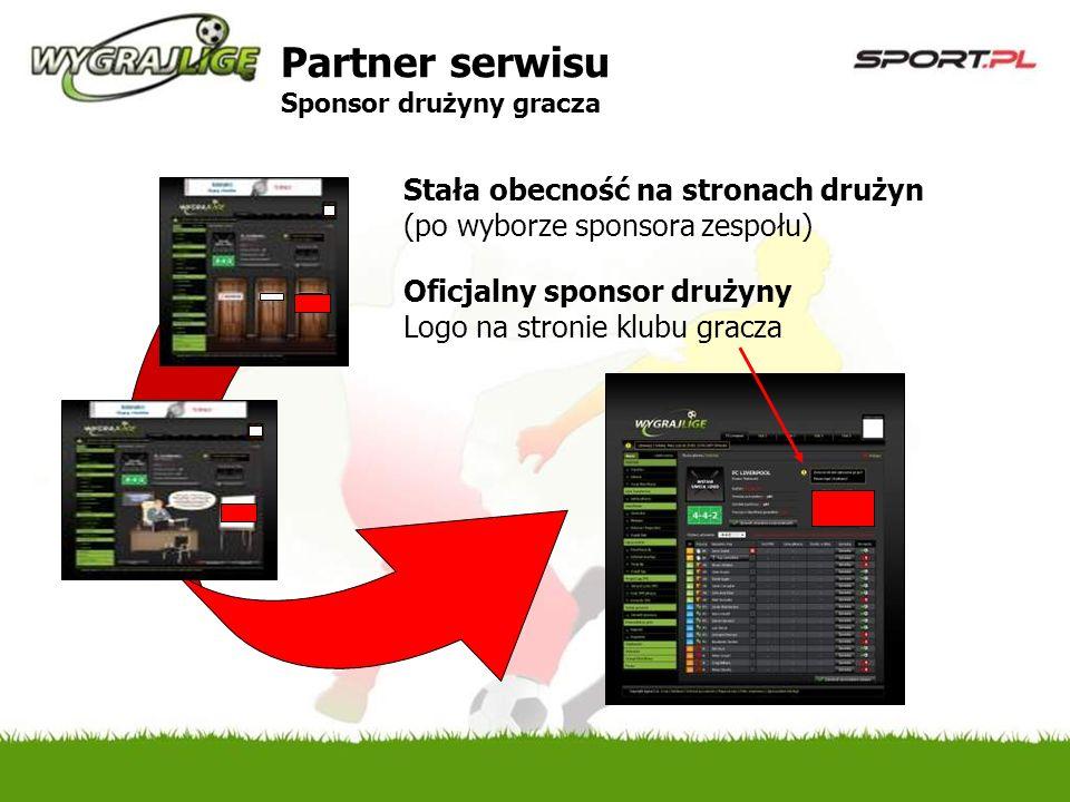 Stała obecność na stronach drużyn (po wyborze sponsora zespołu) Oficjalny sponsor drużyny Logo na stronie klubu gracza Partner serwisu Sponsor drużyny gracza