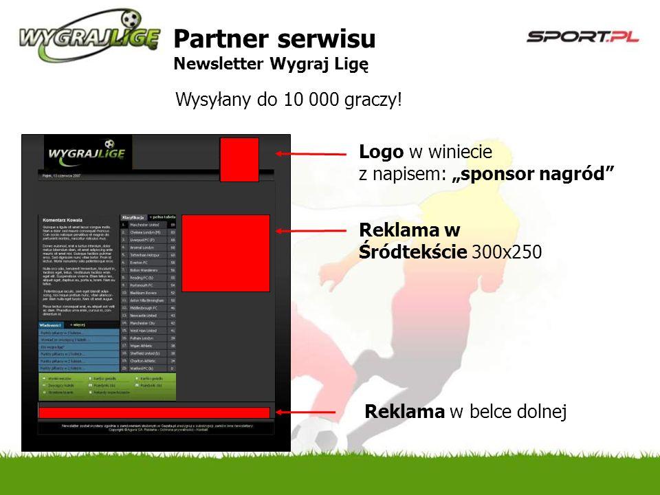 Logo w winiecie z napisem: sponsor nagród Wysyłany do 10 000 graczy.