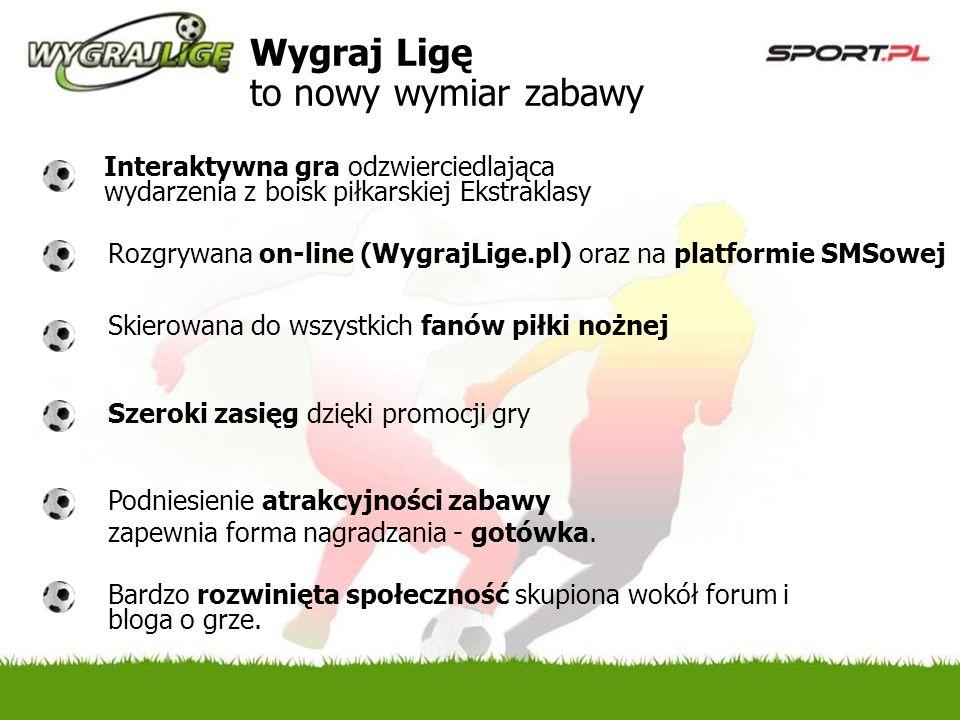 Wygraj Ligę to nowy wymiar zabawy Interaktywna gra odzwierciedlająca wydarzenia z boisk piłkarskiej Ekstraklasy Bardzo rozwinięta społeczność skupiona wokół forum i bloga o grze.