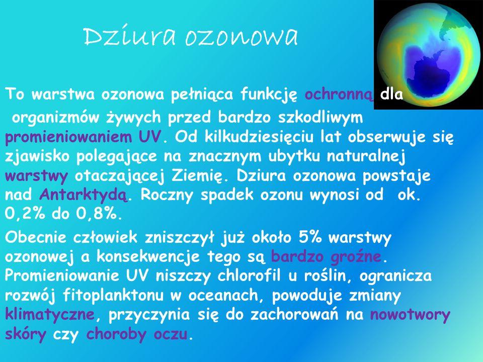 Dziura ozonowa To warstwa ozonowa pełniąca funkcję ochronną dla organizmów żywych przed bardzo szkodliwym promieniowaniem UV. Od kilkudziesięciu lat o
