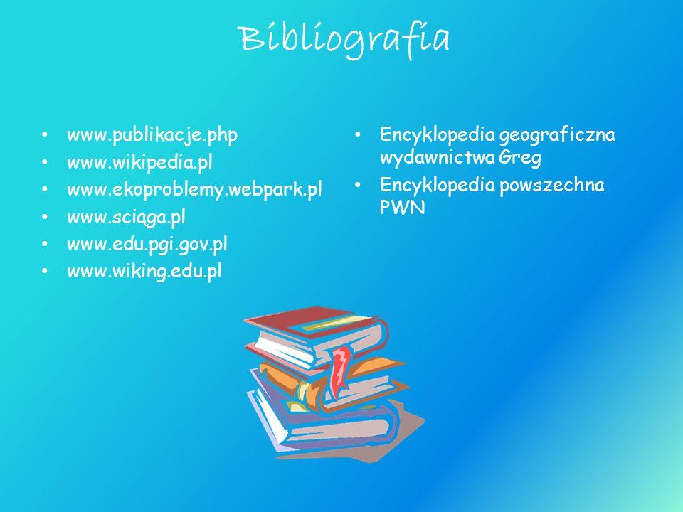 Bibliografia www.publikacje.php www.wikipedia.pl www.ekoproblemy.webpark.pl www.sciąga.pl www.edu.pgi.gov.pl www.wiking.edu.pl Encyklopedia geograficz