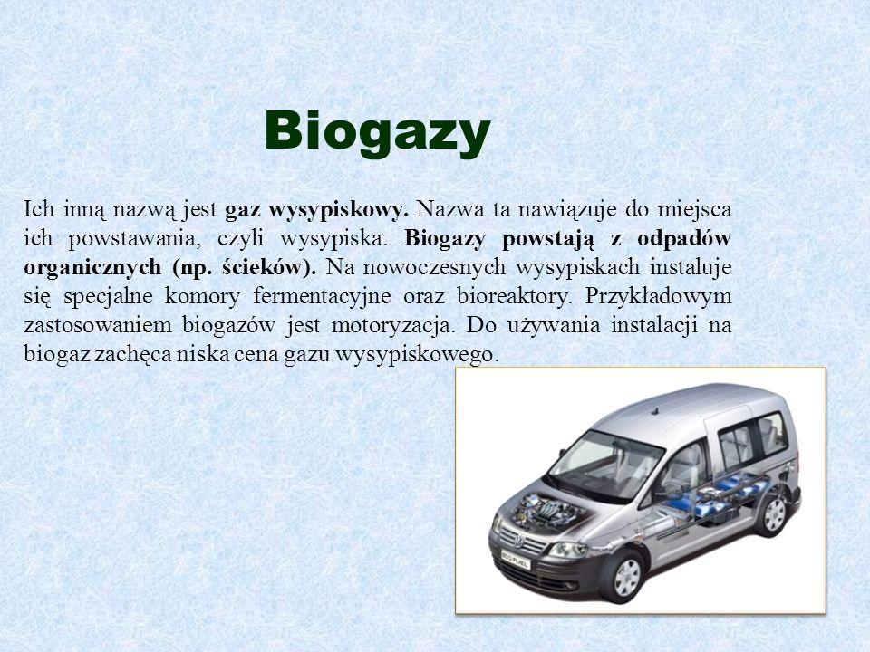 Biogazy Ich inną nazwą jest gaz wysypiskowy. Nazwa ta nawiązuje do miejsca ich powstawania, czyli wysypiska. Biogazy powstają z odpadów organicznych (