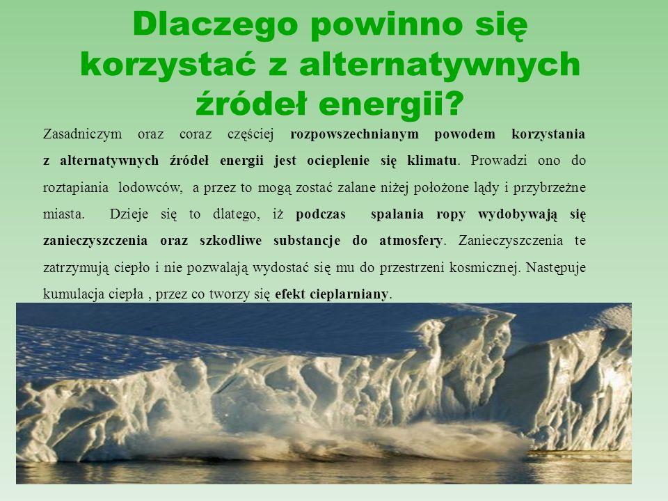 Zalety i wady energii geotermicznej ZALETY: - wykorzystana woda jest ponownie ogrzewana - wykorzystywana w układach centralnego ogrzewania WADY: - zagrożenie zanieczyszczeniem wód głębinowych