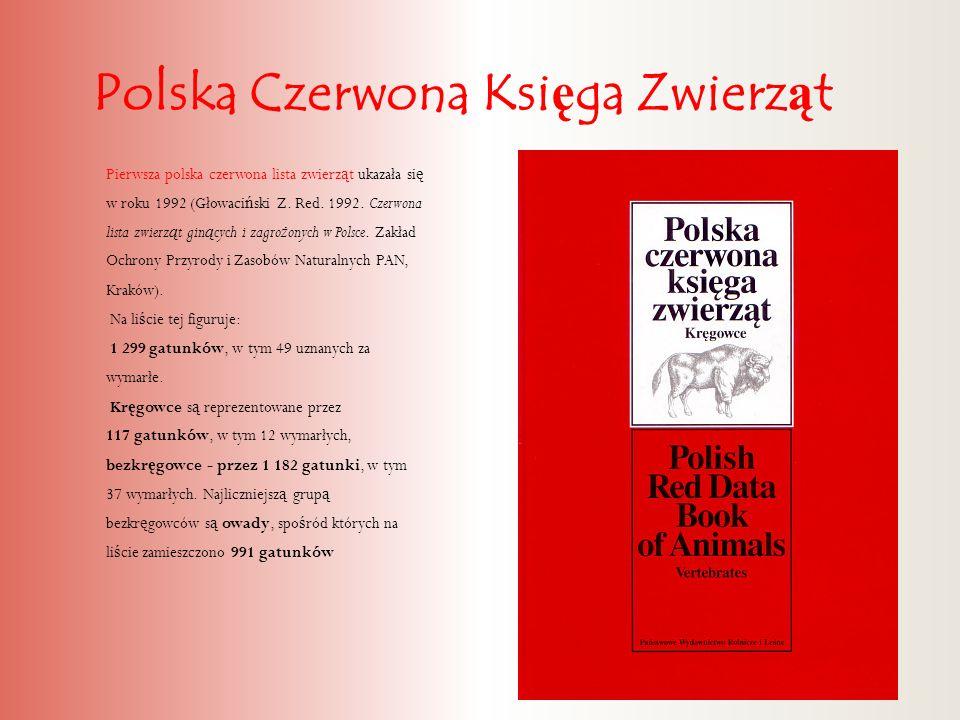Polska Czerwona Ksi ę ga Zwierz ą t Pierwsza polska czerwona lista zwierz ą t ukazała si ę w roku 1992 (Głowaci ń ski Z. Red. 1992. Czerwona lista zwi