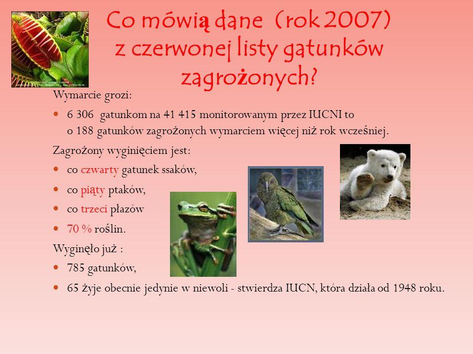 Co mówi ą dane (rok 2007) z czerwonej listy gatunków zagro ż onych? Wymarcie grozi: 6 306 gatunkom na 41 415 monitorowanym przez IUCNI to o 188 gatunk