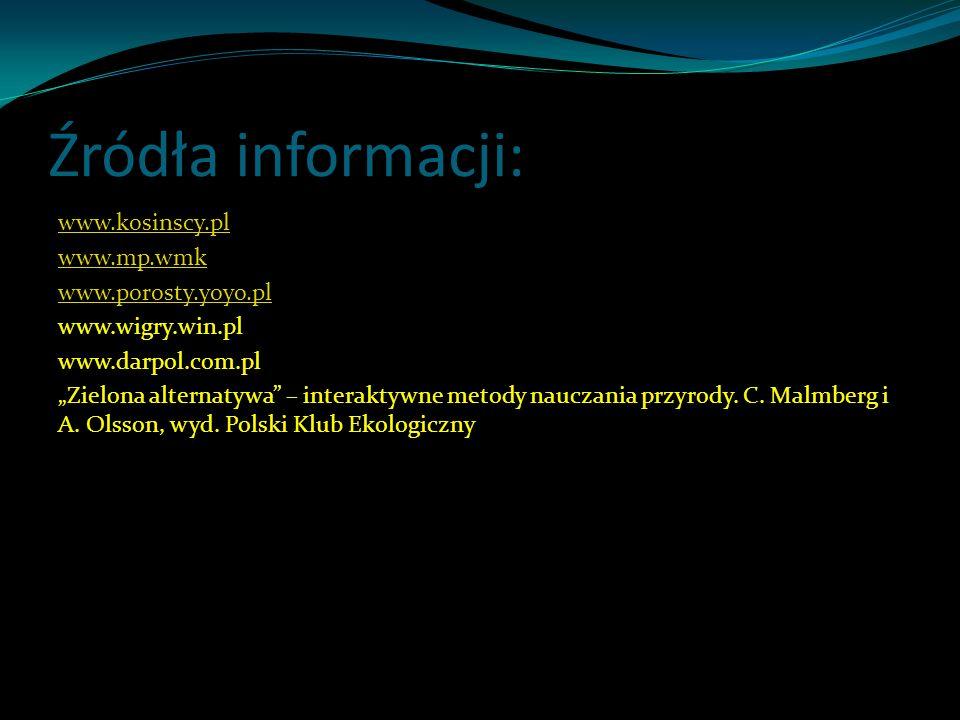 Źródła informacji: www.kosinscy.pl www.mp.wmk www.porosty.yoyo.pl www.wigry.win.pl www.darpol.com.pl Zielona alternatywa – interaktywne metody nauczan