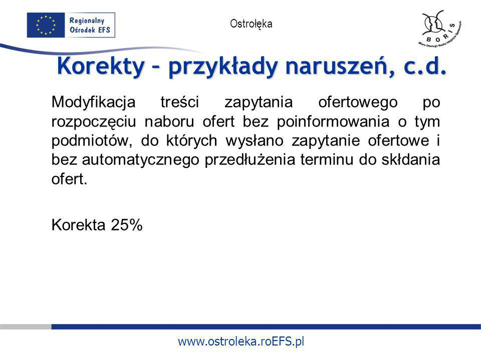 www.ostroleka.roEFS.pl Ostrołęka Korekty – przykłady naruszeń, c.d. Modyfikacja treści zapytania ofertowego po rozpoczęciu naboru ofert bez poinformow
