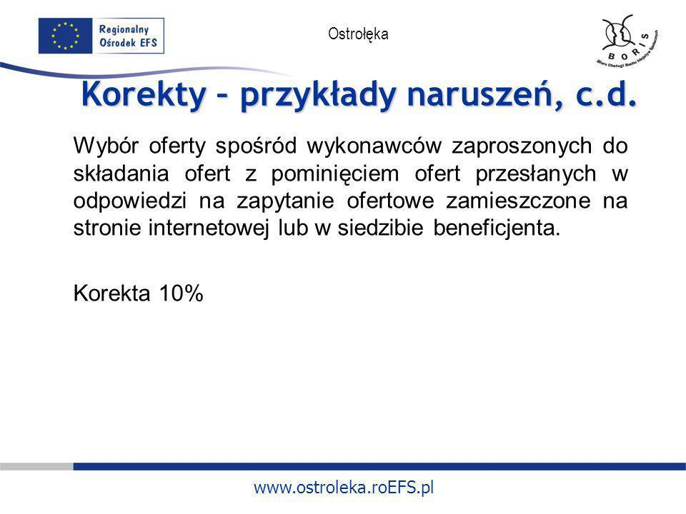 www.ostroleka.roEFS.pl Ostrołęka Korekty – przykłady naruszeń, c.d. Wybór oferty spośród wykonawców zaproszonych do składania ofert z pominięciem ofer