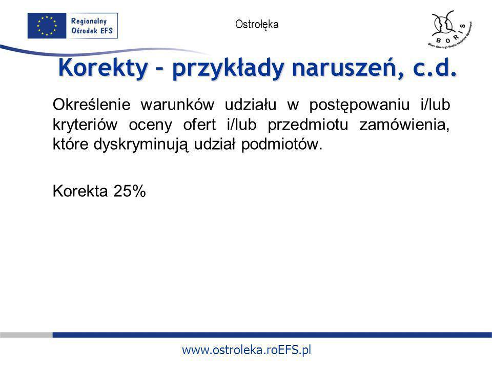 www.ostroleka.roEFS.pl Ostrołęka Korekty – przykłady naruszeń, c.d. Określenie warunków udziału w postępowaniu i/lub kryteriów oceny ofert i/lub przed