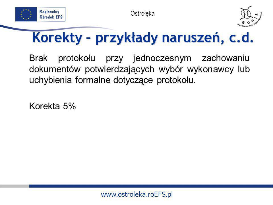 www.ostroleka.roEFS.pl Ostrołęka Korekty – przykłady naruszeń, c.d. Brak protokołu przy jednoczesnym zachowaniu dokumentów potwierdzających wybór wyko