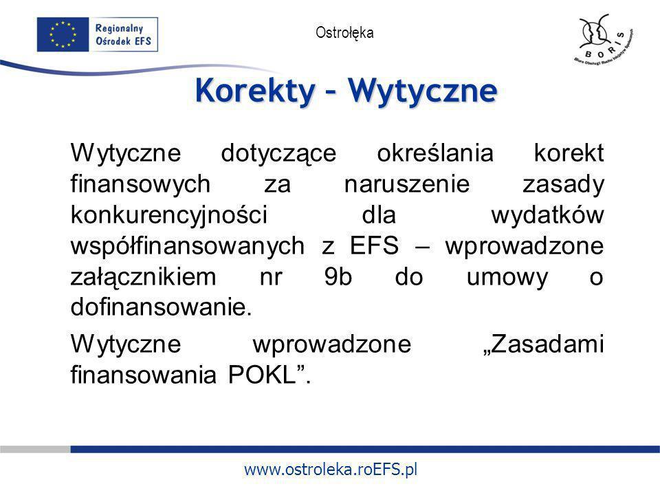www.ostroleka.roEFS.pl Ostrołęka Korekty – Umowa o dofinansowanie Zgodnie z § 20a umowy o dofinansowanie: udzielając zamówienia w ramach projektu Beneficjent stosuje PZP lub zasady konkurencyjności; Instytucja Wdrażająca (IP II) w przypadku stwierdzenia naruszenia powyższych zasad ma prawo zastosować taryfikator korekt finansowych stanowiący załącznik nr 9a do umowy o dofinansowanie.