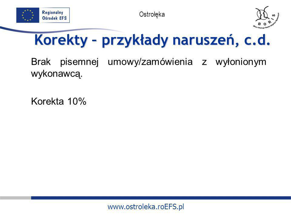 www.ostroleka.roEFS.pl Ostrołęka Korekty – przykłady naruszeń, c.d. Brak pisemnej umowy/zamówienia z wyłonionym wykonawcą. Korekta 10%