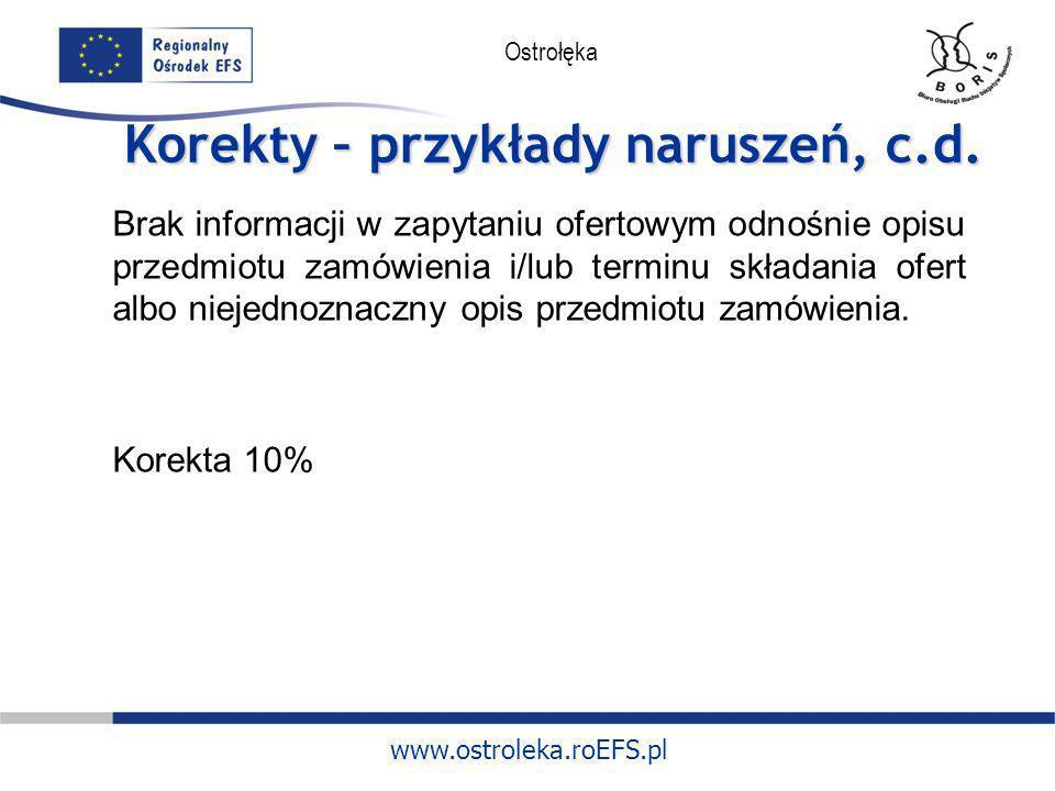 www.ostroleka.roEFS.pl Ostrołęka Korekty – przykłady naruszeń, c.d. Brak informacji w zapytaniu ofertowym odnośnie opisu przedmiotu zamówienia i/lub t