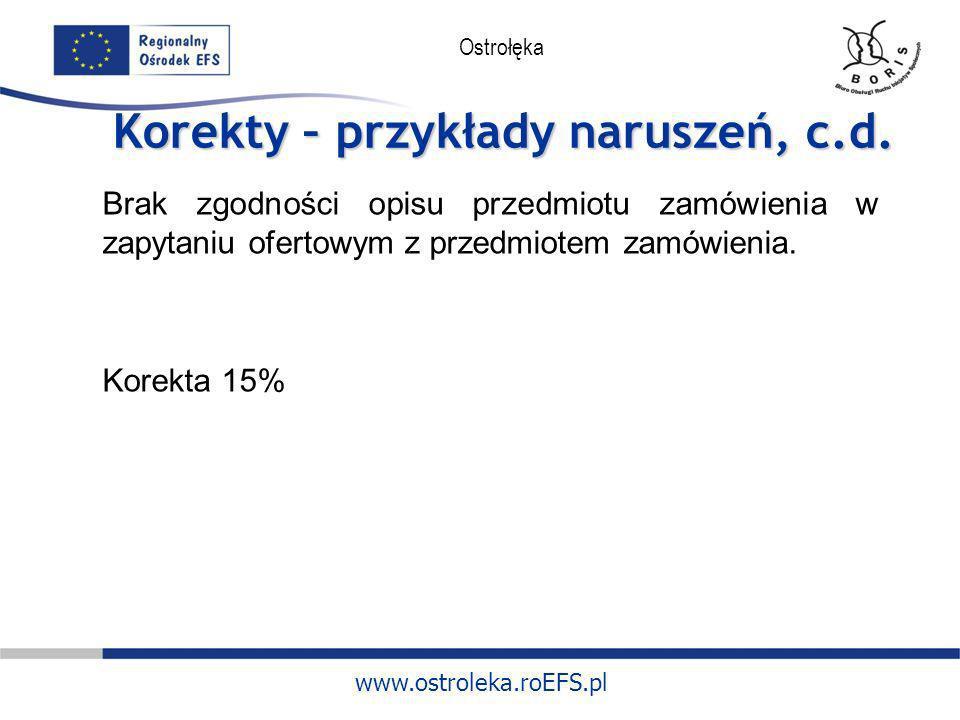 www.ostroleka.roEFS.pl Ostrołęka Korekty – przykłady naruszeń, c.d. Brak zgodności opisu przedmiotu zamówienia w zapytaniu ofertowym z przedmiotem zam
