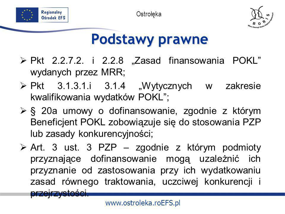 www.ostroleka.roEFS.pl Ostrołęka Podstawy prawne Pkt 2.2.7.2. i 2.2.8 Zasad finansowania POKL wydanych przez MRR; Pkt 3.1.3.1.i 3.1.4 Wytycznych w zak