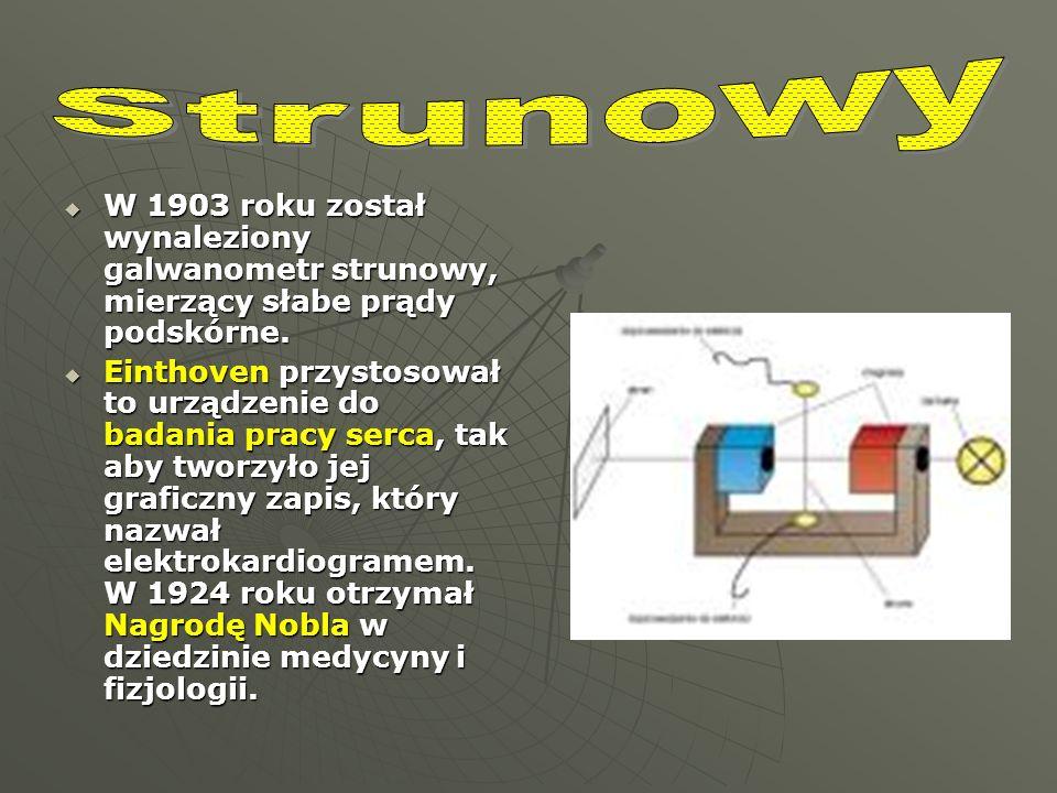 W 1903 roku został wynaleziony galwanometr strunowy, mierzący słabe prądy podskórne. W 1903 roku został wynaleziony galwanometr strunowy, mierzący sła