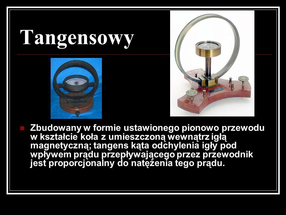 Tangensowy Zbudowany w formie ustawionego pionowo przewodu w kształcie koła z umieszczoną wewnątrz igłą magnetyczną; tangens kąta odchylenia igły pod