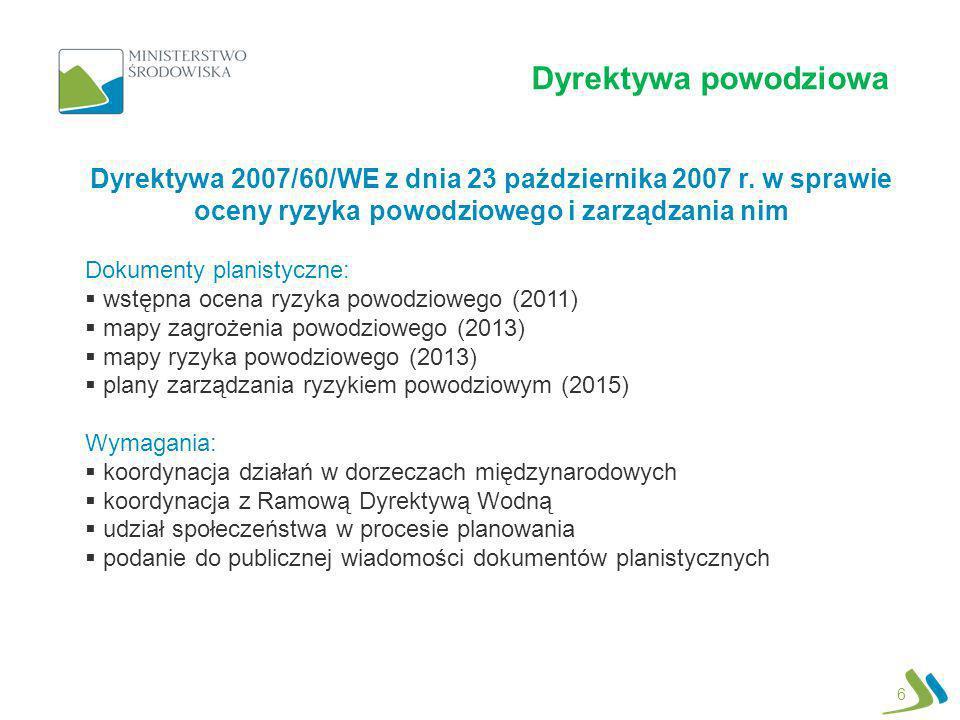 Dyrektywa powodziowa 6 Dyrektywa 2007/60/WE z dnia 23 października 2007 r. w sprawie oceny ryzyka powodziowego i zarządzania nim Dokumenty planistyczn