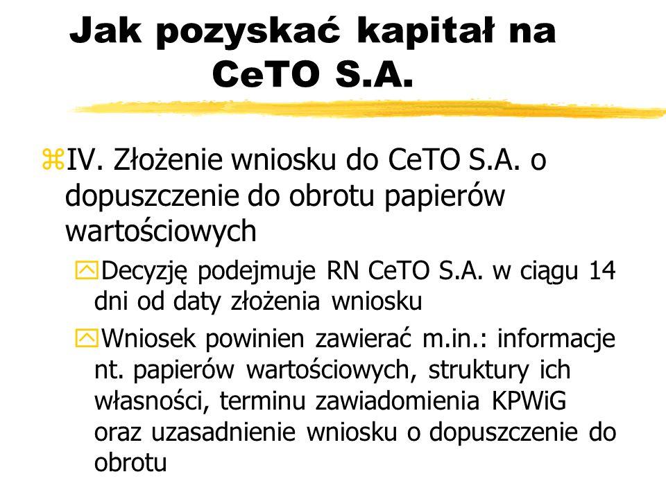 Jak pozyskać kapitał na CeTO S.A. zIV. Złożenie wniosku do CeTO S.A. o dopuszczenie do obrotu papierów wartościowych yDecyzję podejmuje RN CeTO S.A. w