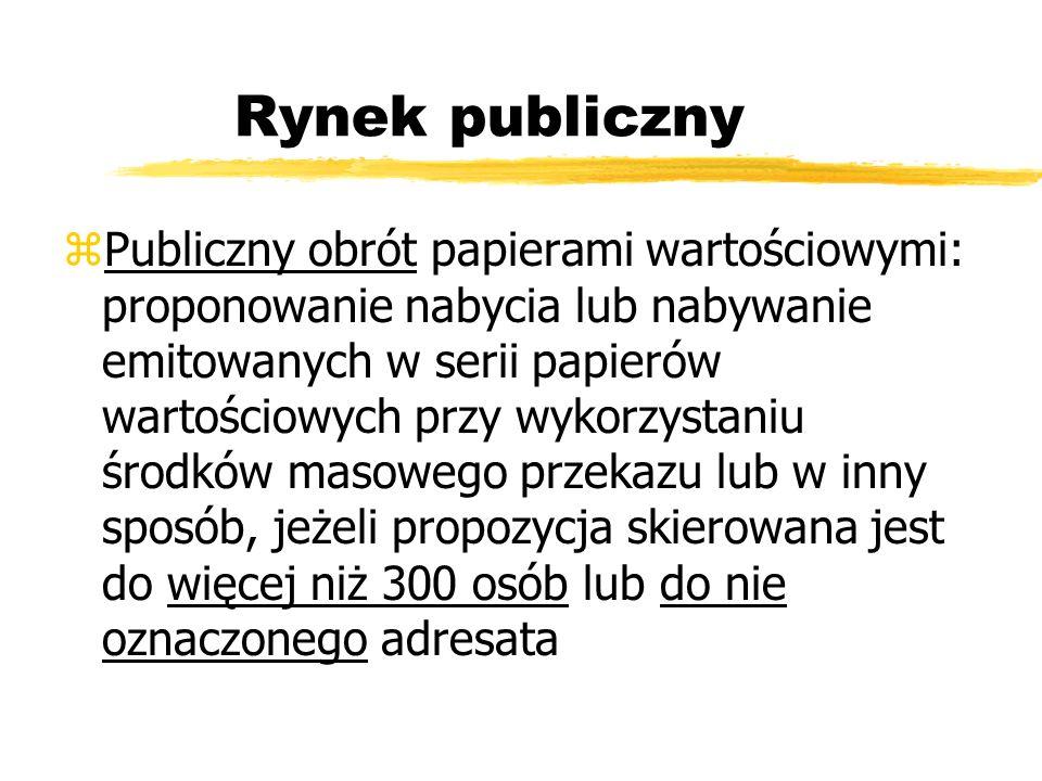 Rynek publiczny zPubliczny obrót papierami wartościowymi: proponowanie nabycia lub nabywanie emitowanych w serii papierów wartościowych przy wykorzyst