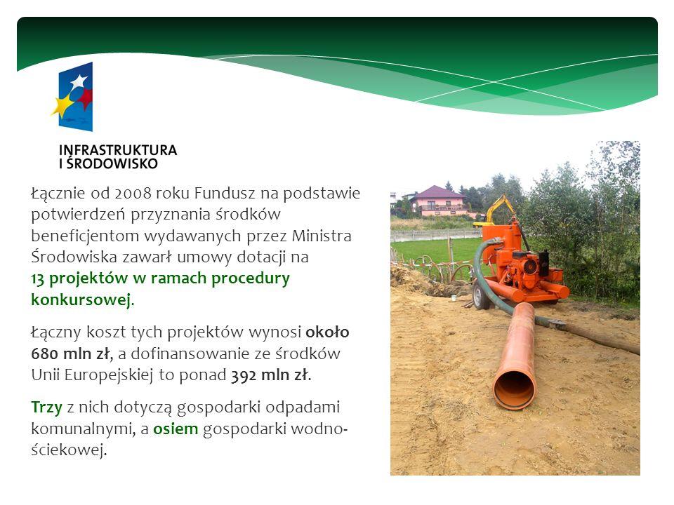 Łącznie od 2008 roku Fundusz na podstawie potwierdzeń przyznania środków beneficjentom wydawanych przez Ministra Środowiska zawarł umowy dotacji na 13 projektów w ramach procedury konkursowej.
