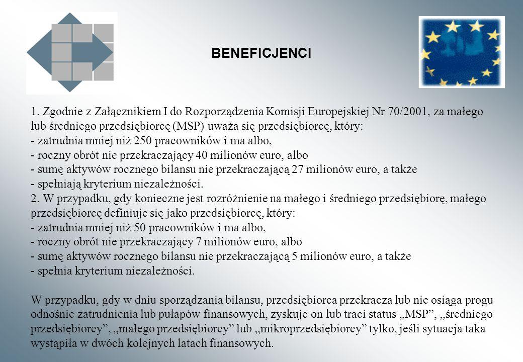 BENEFICJENCI 1. Zgodnie z Załącznikiem I do Rozporządzenia Komisji Europejskiej Nr 70/2001, za małego lub średniego przedsiębiorcę (MSP) uważa się prz