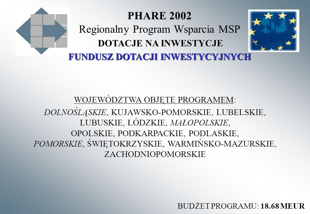 PHARE 2002 Regionalny Program Wsparcia MSP FUNDUSZ DOTACJI INWESTYCYJNYCH DOTACJE NA INWESTYCJE BUDŻET PROGRAMU: 18.68 MEUR WOJEWÓDZTWA OBJĘTE PROGRAMEM: DOLNOŚLĄSKIE, KUJAWSKO-POMORSKIE, LUBELSKIE, LUBUSKIE, ŁÓDZKIE, MAŁOPOLSKIE, OPOLSKIE, PODKARPACKIE, PODLASKIE, POMORSKIE, ŚWIĘTOKRZYSKIE, WARMIŃSKO-MAZURSKIE, ZACHODNIOPOMORSKIE