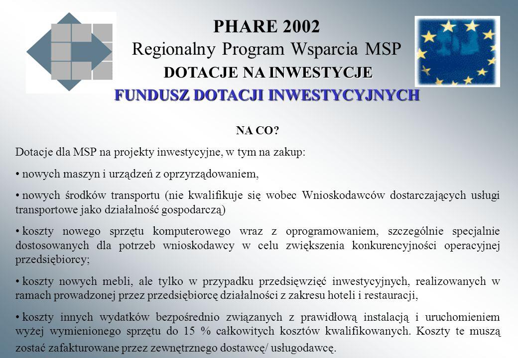 PHARE 2002 Regionalny Program Wsparcia MSP FUNDUSZ DOTACJI INWESTYCYJNYCH DOTACJE NA INWESTYCJE NA CO? Dotacje dla MSP na projekty inwestycyjne, w tym