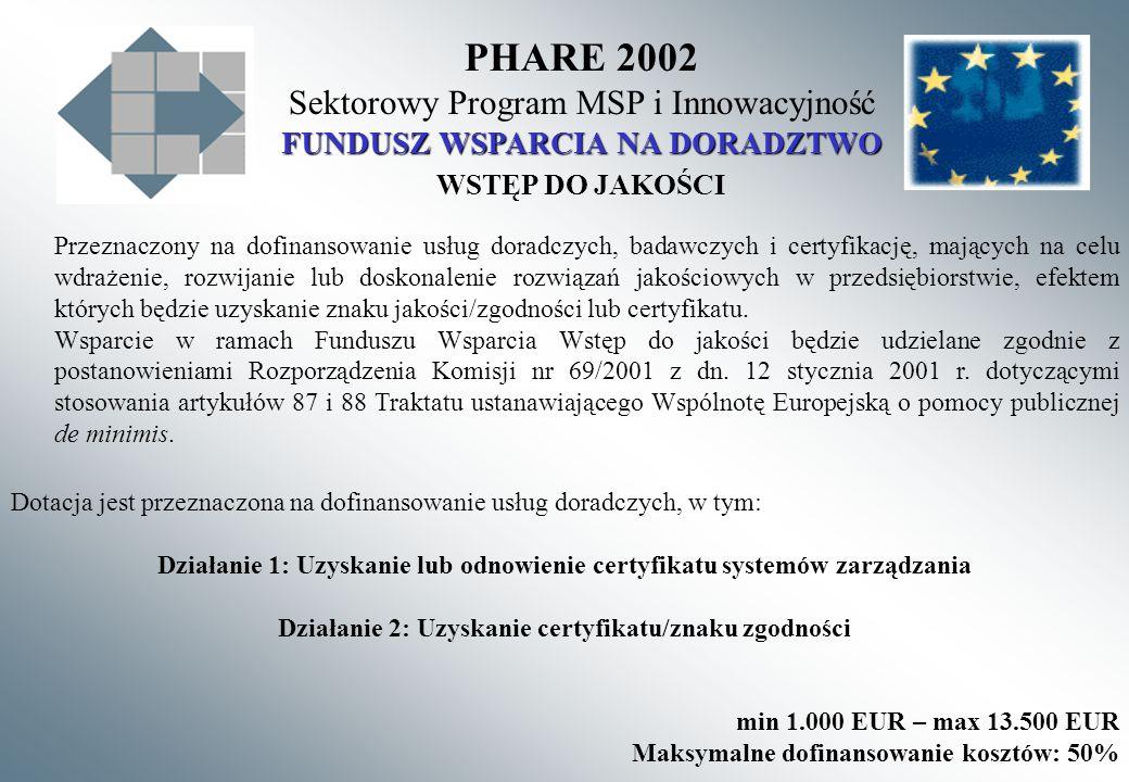 PHARE 2002 Sektorowy Program MSP i Innowacyjność FUNDUSZ WSPARCIA NA DORADZTWO WSTĘP DO JAKOŚCI Przeznaczony na dofinansowanie usług doradczych, badawczych i certyfikację, mających na celu wdrażenie, rozwijanie lub doskonalenie rozwiązań jakościowych w przedsiębiorstwie, efektem których będzie uzyskanie znaku jakości/zgodności lub certyfikatu.