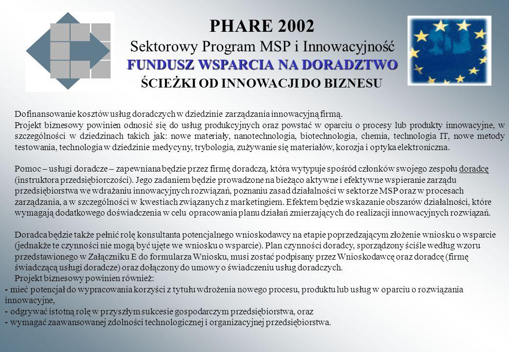 PHARE 2002 Sektorowy Program MSP i Innowacyjność FUNDUSZ WSPARCIA NA DORADZTWO ŚCIEŻKI OD INNOWACJI DO BIZNESU Dofinansowanie kosztów usług doradczych w dziedzinie zarządzania innowacyjną firmą.