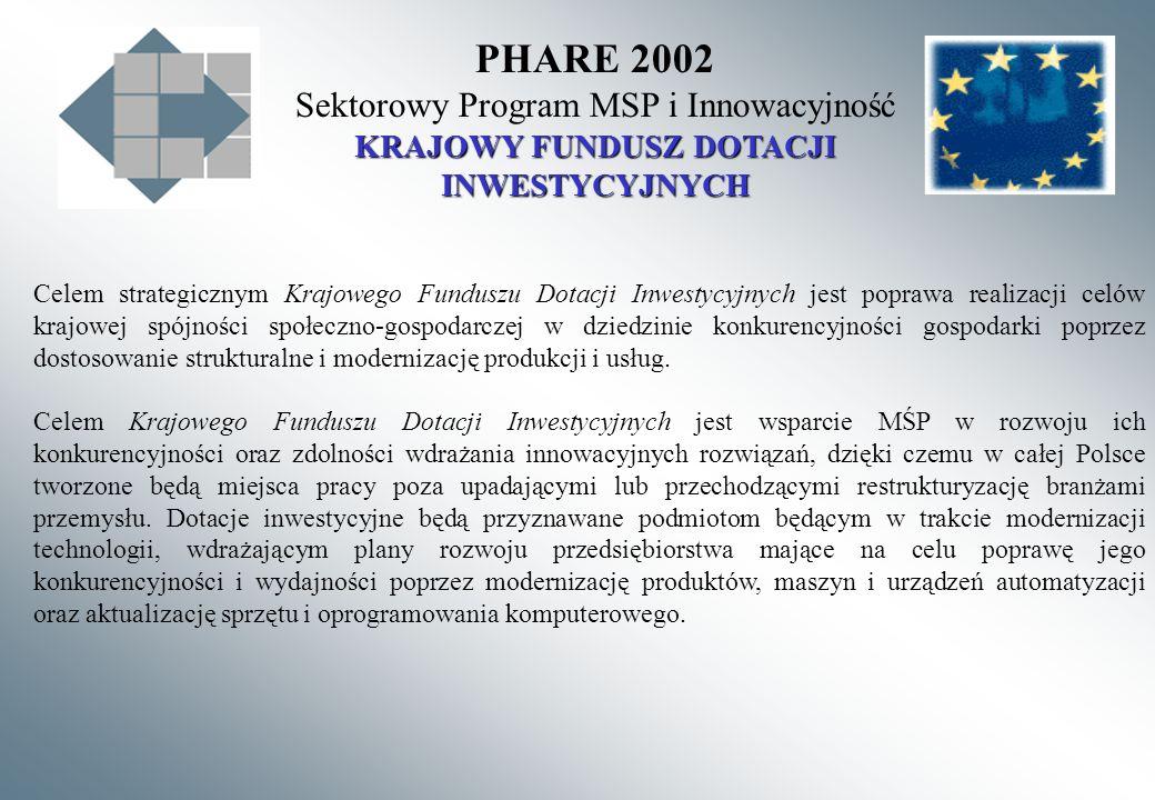 PHARE 2002 Sektorowy Program MSP i Innowacyjność KRAJOWY FUNDUSZ DOTACJI INWESTYCYJNYCH Celem strategicznym Krajowego Funduszu Dotacji Inwestycyjnych