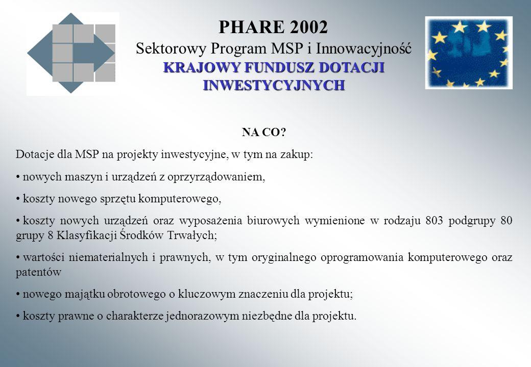 PHARE 2002 Sektorowy Program MSP i Innowacyjność KRAJOWY FUNDUSZ DOTACJI INWESTYCYJNYCH NA CO? Dotacje dla MSP na projekty inwestycyjne, w tym na zaku