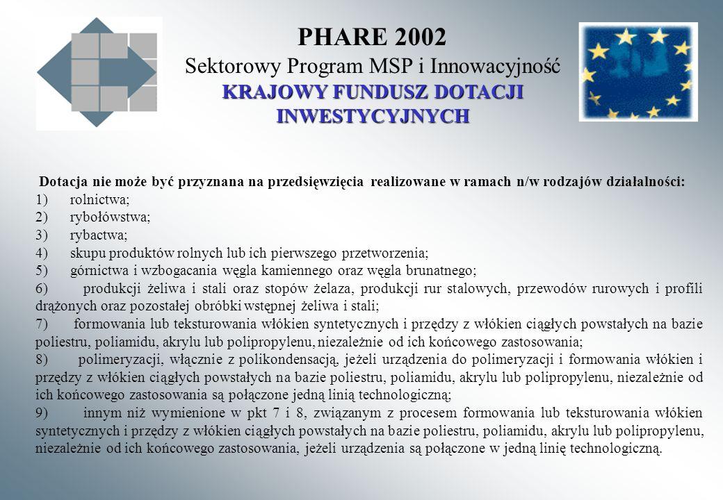 PHARE 2002 Sektorowy Program MSP i Innowacyjność KRAJOWY FUNDUSZ DOTACJI INWESTYCYJNYCH Dotacja nie może być przyznana na przedsięwzięcia realizowane w ramach n/w rodzajów działalności: 1) rolnictwa; 2) rybołówstwa; 3) rybactwa; 4) skupu produktów rolnych lub ich pierwszego przetworzenia; 5) górnictwa i wzbogacania węgla kamiennego oraz węgla brunatnego; 6) produkcji żeliwa i stali oraz stopów żelaza, produkcji rur stalowych, przewodów rurowych i profili drążonych oraz pozostałej obróbki wstępnej żeliwa i stali; 7) formowania lub teksturowania włókien syntetycznych i przędzy z włókien ciągłych powstałych na bazie poliestru, poliamidu, akrylu lub polipropylenu, niezależnie od ich końcowego zastosowania; 8) polimeryzacji, włącznie z polikondensacją, jeżeli urządzenia do polimeryzacji i formowania włókien i przędzy z włókien ciągłych powstałych na bazie poliestru, poliamidu, akrylu lub polipropylenu, niezależnie od ich końcowego zastosowania są połączone jedną linią technologiczną; 9) innym niż wymienione w pkt 7 i 8, związanym z procesem formowania lub teksturowania włókien syntetycznych i przędzy z włókien ciągłych powstałych na bazie poliestru, poliamidu, akrylu lub polipropylenu, niezależnie od ich końcowego zastosowania, jeżeli urządzenia są połączone w jedną linię technologiczną.