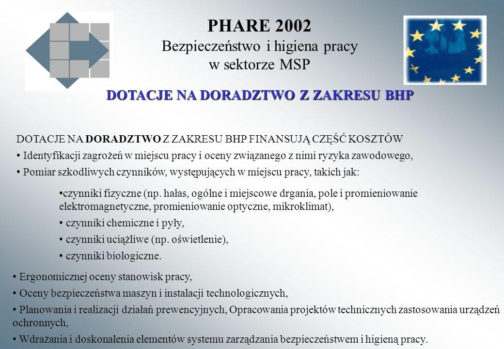 PHARE 2002 Bezpieczeństwo i higiena pracy w sektorze MSP DOTACJE NA DORADZTWO Z ZAKRESU BHP DOTACJE NA DORADZTWO Z ZAKRESU BHP FINANSUJĄ CZĘŚĆ KOSZTÓW
