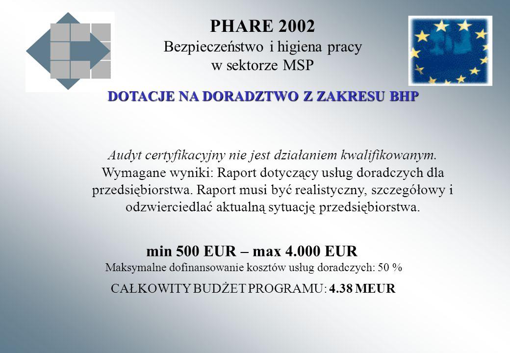 PHARE 2002 Bezpieczeństwo i higiena pracy w sektorze MSP DOTACJE NA DORADZTWO Z ZAKRESU BHP Audyt certyfikacyjny nie jest działaniem kwalifikowanym. W