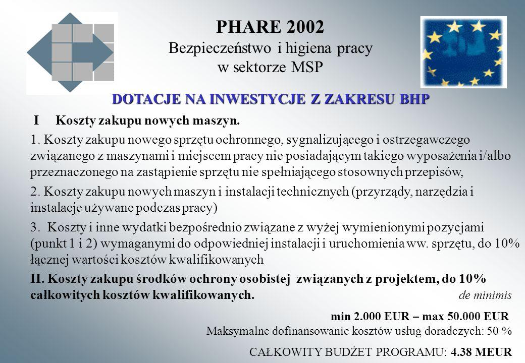 PHARE 2002 Bezpieczeństwo i higiena pracy w sektorze MSP DOTACJE NA INWESTYCJE Z ZAKRESU BHP I Koszty zakupu nowych maszyn. 1. Koszty zakupu nowego sp