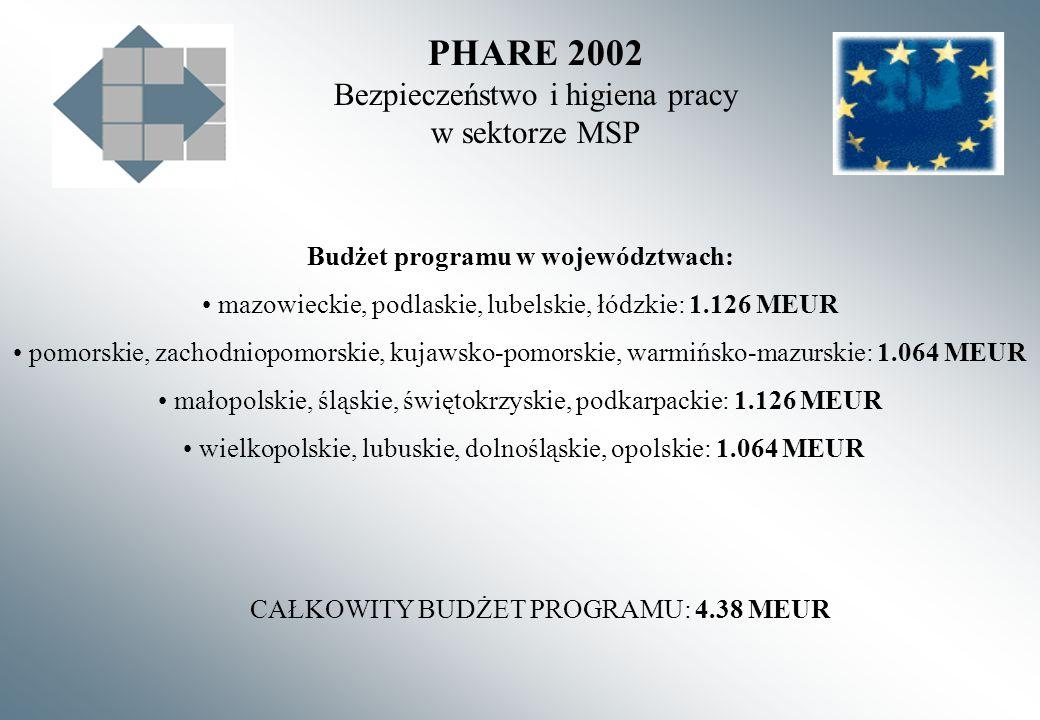 PHARE 2002 Bezpieczeństwo i higiena pracy w sektorze MSP Budżet programu w województwach: mazowieckie, podlaskie, lubelskie, łódzkie: 1.126 MEUR pomorskie, zachodniopomorskie, kujawsko-pomorskie, warmińsko-mazurskie: 1.064 MEUR małopolskie, śląskie, świętokrzyskie, podkarpackie: 1.126 MEUR wielkopolskie, lubuskie, dolnośląskie, opolskie: 1.064 MEUR CAŁKOWITY BUDŻET PROGRAMU: 4.38 MEUR