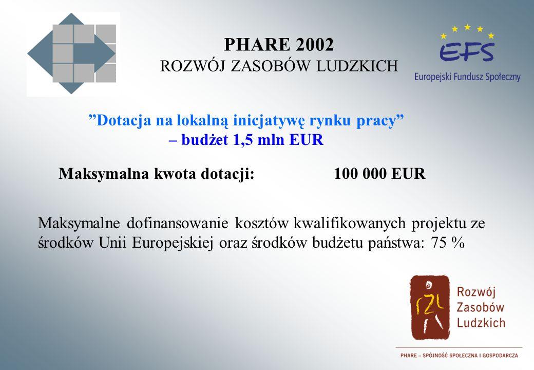 PHARE 2002 ROZWÓJ ZASOBÓW LUDZKICH Dotacja na lokalną inicjatywę rynku pracy – budżet 1,5 mln EUR Maksymalna kwota dotacji:100 000 EUR Maksymalne dofinansowanie kosztów kwalifikowanych projektu ze środków Unii Europejskiej oraz środków budżetu państwa: 75 %