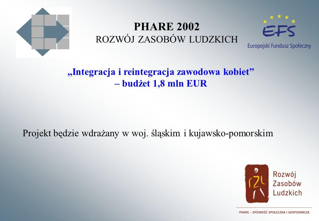 PHARE 2002 ROZWÓJ ZASOBÓW LUDZKICH Integracja i reintegracja zawodowa kobiet – budżet 1,8 mln EUR Projekt będzie wdrażany w woj. śląskim i kujawsko-po