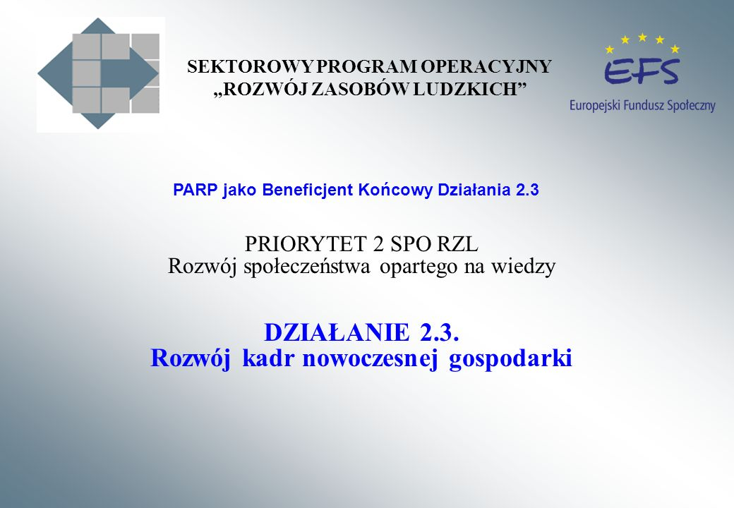 PRIORYTET 2 SPO RZL Rozwój społeczeństwa opartego na wiedzy DZIAŁANIE 2.3. Rozwój kadr nowoczesnej gospodarki PARP jako Beneficjent Końcowy Działania