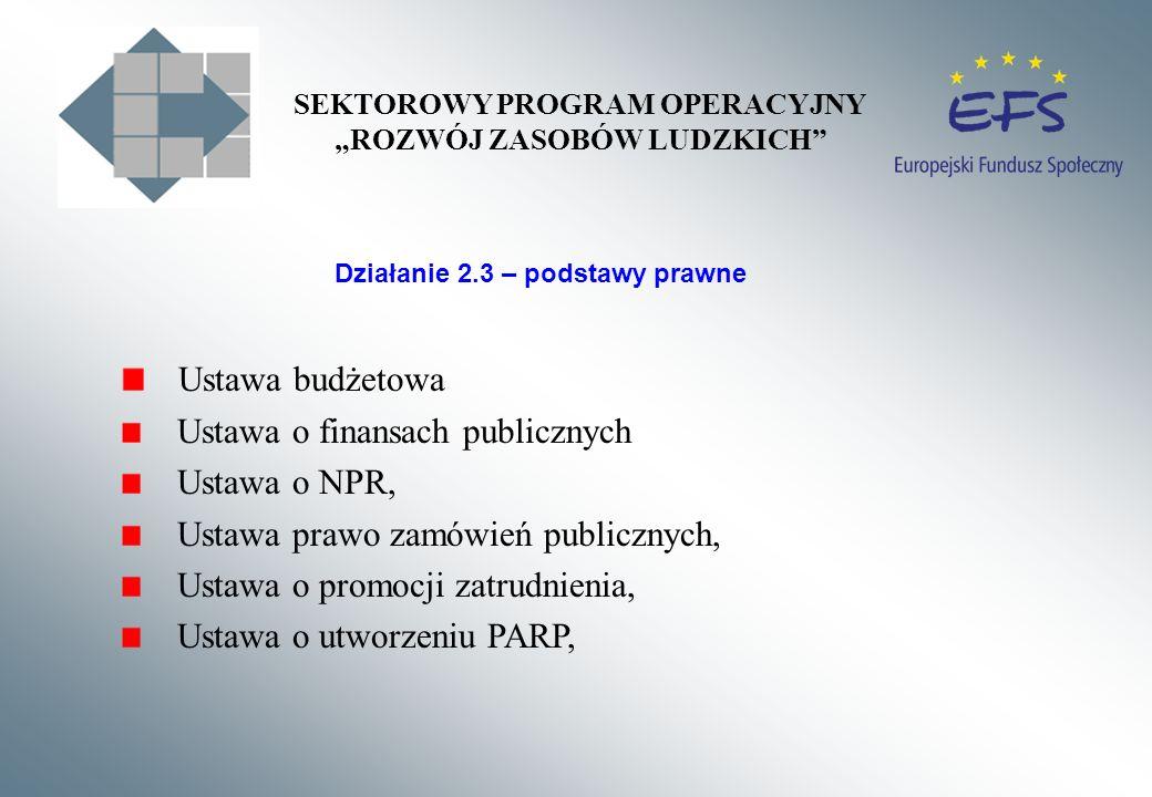 Ustawa budżetowa Ustawa o finansach publicznych Ustawa o NPR, Ustawa prawo zamówień publicznych, Ustawa o promocji zatrudnienia, Ustawa o utworzeniu PARP, Działanie 2.3 – podstawy prawne SEKTOROWY PROGRAM OPERACYJNY ROZWÓJ ZASOBÓW LUDZKICH