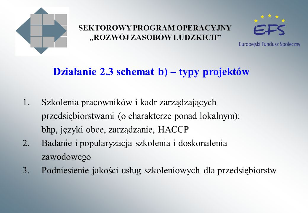 Działanie 2.3 schemat b) – typy projektów 1.Szkolenia pracowników i kadr zarządzających przedsiębiorstwami (o charakterze ponad lokalnym): bhp, języki obce, zarządzanie, HACCP 2.Badanie i popularyzacja szkolenia i doskonalenia zawodowego 3.Podniesienie jakości usług szkoleniowych dla przedsiębiorstw SEKTOROWY PROGRAM OPERACYJNY ROZWÓJ ZASOBÓW LUDZKICH