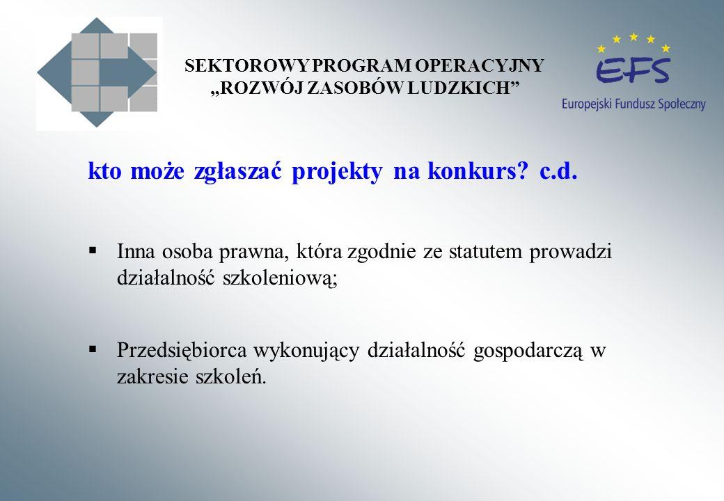 kto może zgłaszać projekty na konkurs? c.d. Inna osoba prawna, która zgodnie ze statutem prowadzi działalność szkoleniową; Przedsiębiorca wykonujący d