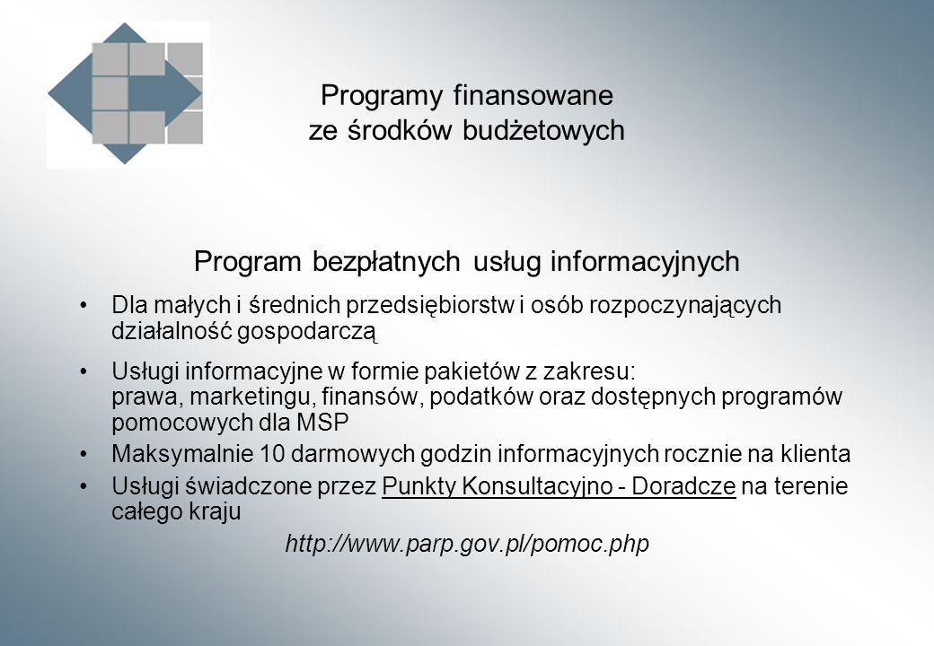 Programy finansowane ze środków budżetowych Program bezpłatnych usług informacyjnych Dla małych i średnich przedsiębiorstw i osób rozpoczynających działalność gospodarczą Usługi informacyjne w formie pakietów z zakresu: prawa, marketingu, finansów, podatków oraz dostępnych programów pomocowych dla MSP Maksymalnie 10 darmowych godzin informacyjnych rocznie na klienta Usługi świadczone przez Punkty Konsultacyjno - Doradcze na terenie całego kraju http://www.parp.gov.pl/pomoc.php