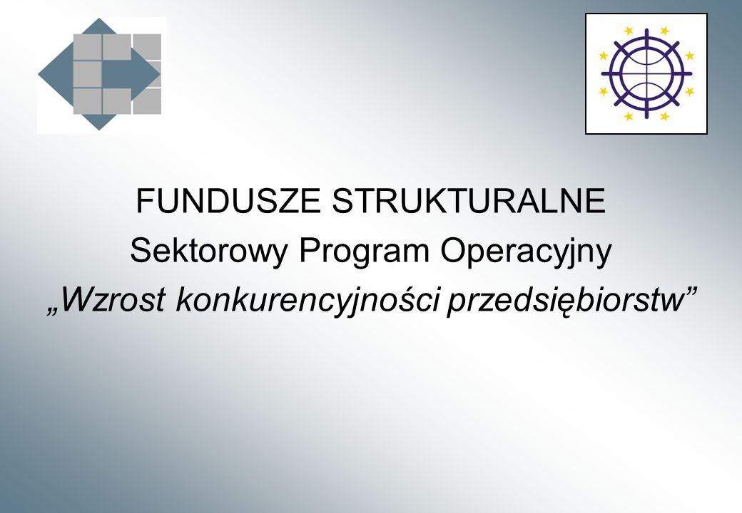 FUNDUSZE STRUKTURALNE Sektorowy Program Operacyjny Wzrost konkurencyjności przedsiębiorstw
