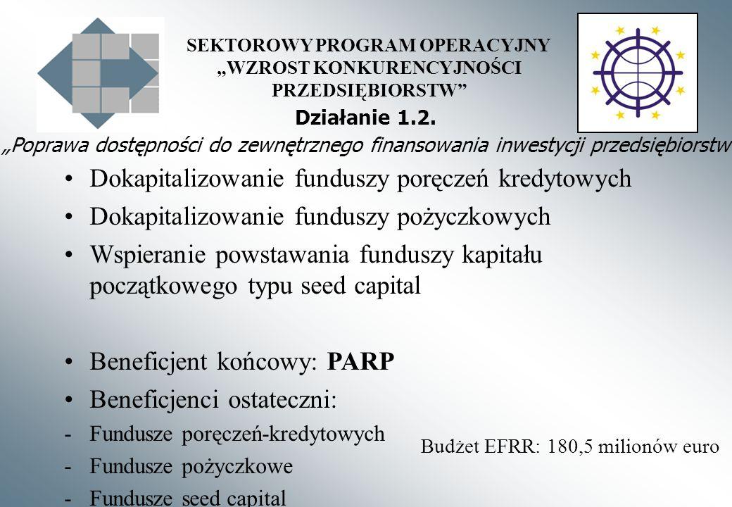 SEKTOROWY PROGRAM OPERACYJNY WZROST KONKURENCYJNOŚCI PRZEDSIĘBIORSTW Działanie 1.2. Poprawa dostępności do zewnętrznego finansowania inwestycji przeds
